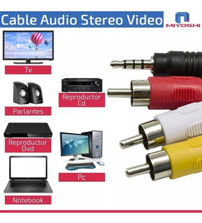 Cable 3 Rca Audio Y Video A Miniplug 1,5 Mt Auxiliar Stereo
