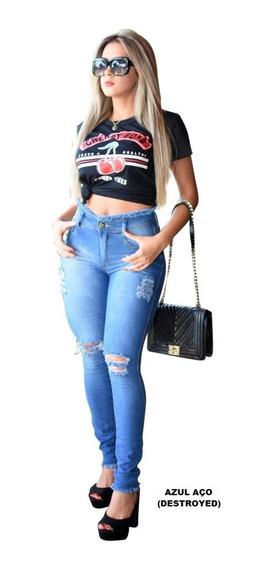 Kit Atacado 03 Calças Jeans Feminina Cintura Alta C/ Lycra!