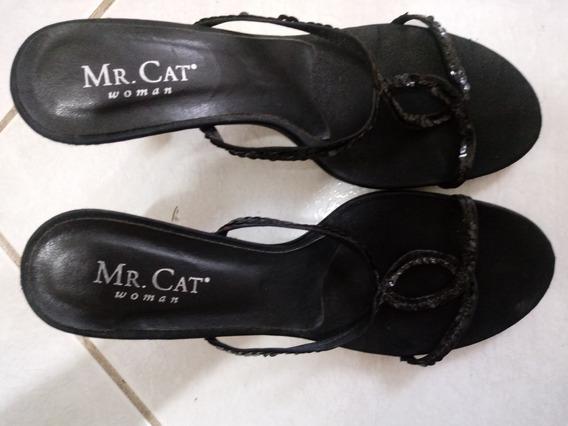 Sandália Preta Com Lantejoula Festa Mr Cat