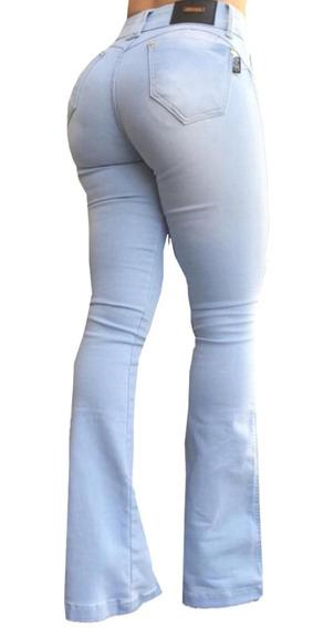 Calça Jeans Flare Estilo Pitbull Bojo Removível Morena Rosa