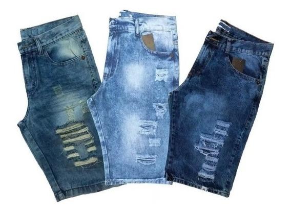 Kit 3 Bermudas Jeans Masculina Preço Fábrica Atacado