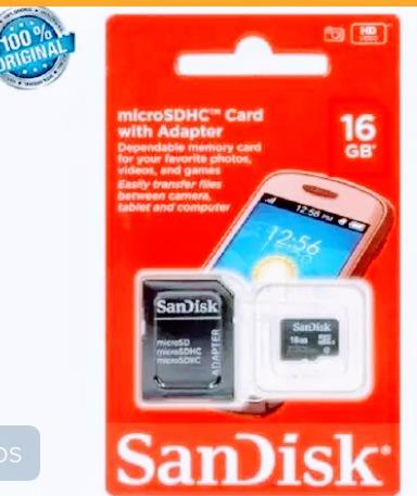 Cartão De Memória Sandisk 16gb Com Adaptador Original