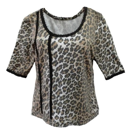 Blusa Remera Camiseta Algodón Lycra Manga Corta Animal Print