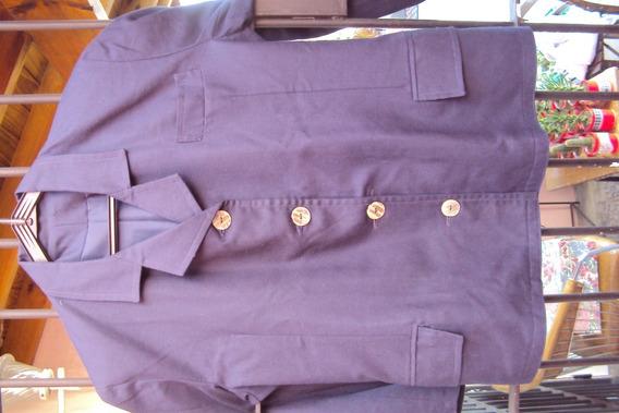 Saco De Lino Mujer Color Azul Marino 4 Botones T. L-xl