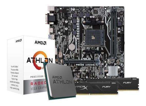 Kit Processador Athlon 3000g Asus A320m-k 2x4gb Hx Fury