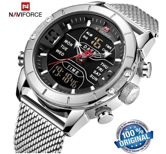 Relógio Naviforce 9153 Analógico Digital Prata Original