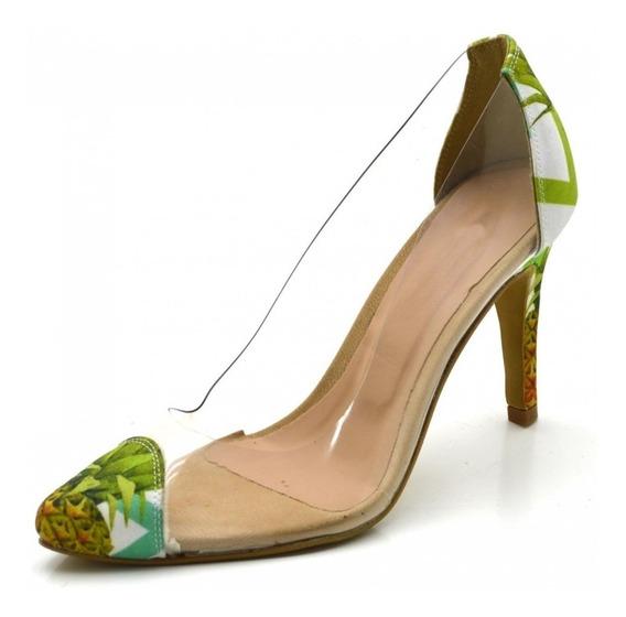 Scarpin Sapato Feminino Transparente Salto Alto Lancamento