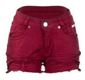 Promoção Kit De 5 Shorts Curto Colorido Feminino Botão Sarja