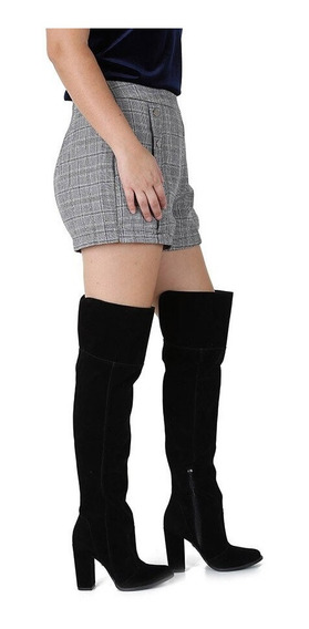 Bota Over The Knee Stretch Preto Cano Alto Até A Coxa