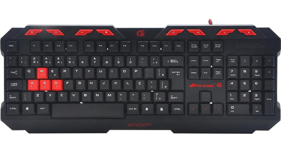 Teclado Gamer Spider Gk706 Preto/vermelho Fortrek Barato