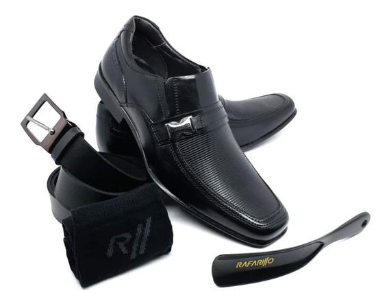Sapato Social Rafarillo Couro Conforto Kit 4 Em 1 Ref 45009