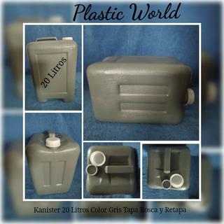 Envase Plástico Carboya Bidon Kanister 20 Litros Color Gris