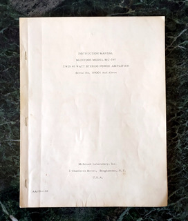 Mcintosh Mc240 Manual Plano Part List Original