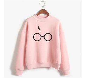 Blusa Moletom Harry Potter Rosa Óculos Cicatriz Pink Unissex