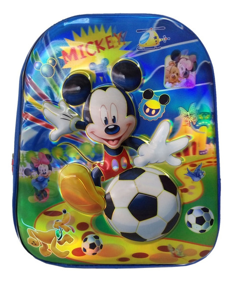 Mochila Escola Infantil Alto Relevo 3d Mickey Azul Menino