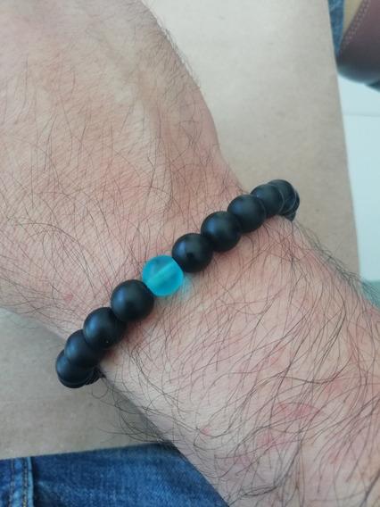 Pulsera-brazalete De Onix Mate, Piedra Protectora. Yoga.