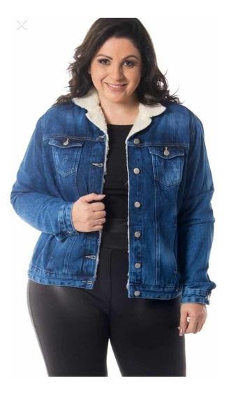 Jaqueta Jeans Fem. Lã De Carneiro Plus Size - Frete Grátis