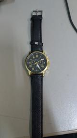 Relógio Genova Dourado E Pulseira De Couro