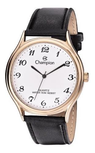 Relógio Champion Dourado No Couro Cn20024b Novo Original