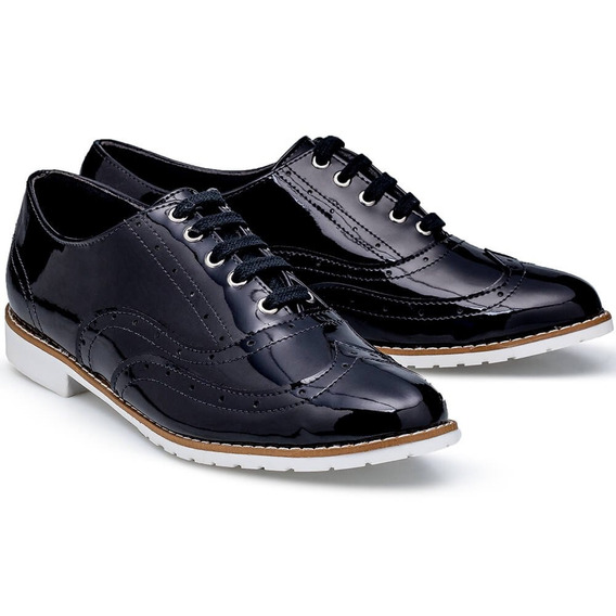 Sapato Feminino Flamarian Oxford Verniz