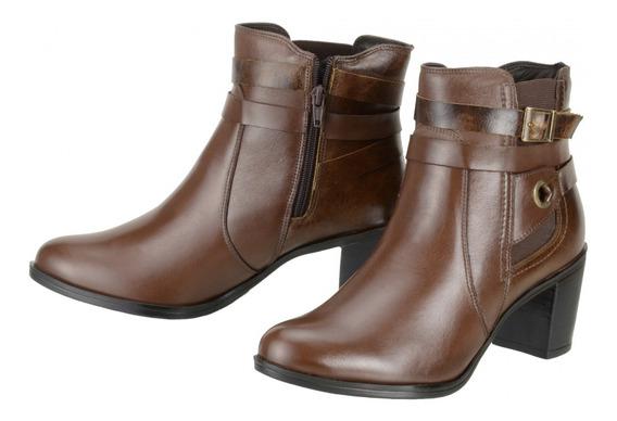 Bota Feminina Cano Curto Dududias Ankle Boot Couro Leg 252