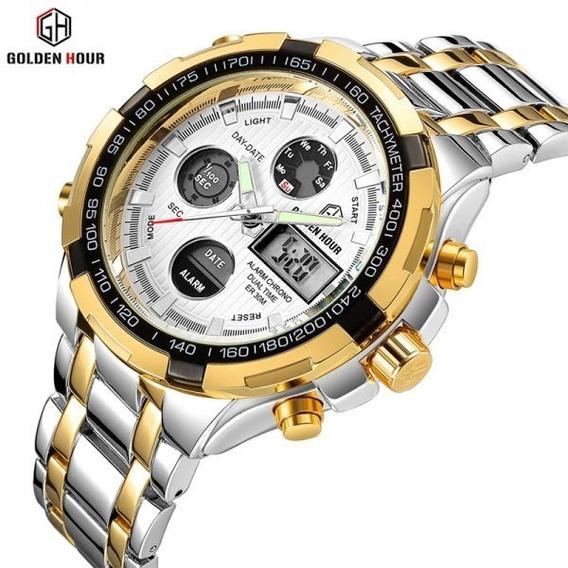 Relógio Golden Hour Prata/dourado Luxo Original Gh-108 Lindo
