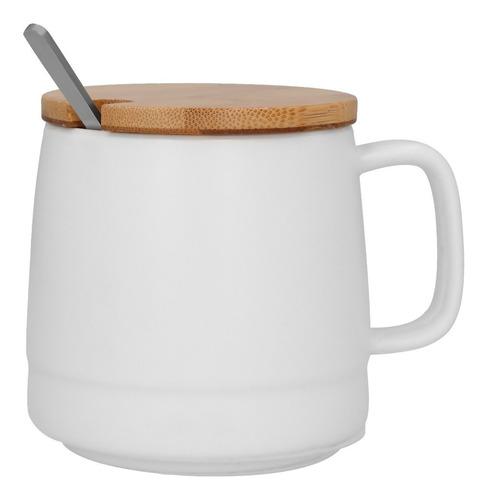 Imagen 1 de 10 de Taza De Ceramica Con Tapa De Bambú