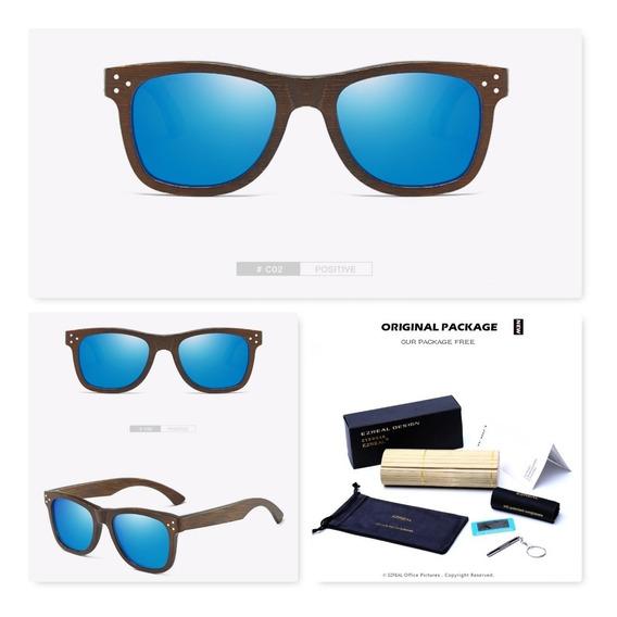 Óculos De Sol Madeira Bambu Polarizado Uv Azul C/ Estojo
