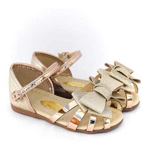 Sandália Molekinha Bebê 2114.113 Ouro Metal Islen Calçados