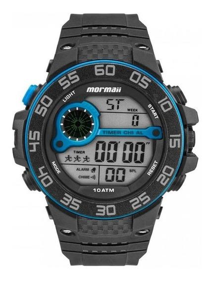 Relógio Masculino Acqua Preto Com Azul - Mormaii Digital