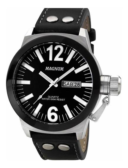Relógio Masculino Magnum Soviet Pulseira De Couro Preto