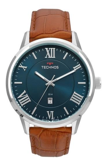 Relógio Masculino Technos Couro Marrom 2115mtx/0a