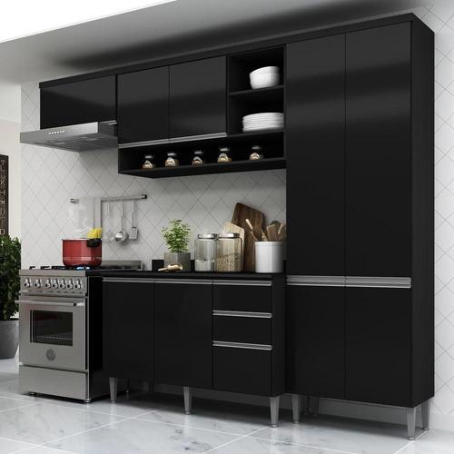 Cozinha Completa C/balcão Hollywood Multimóveis Fg5195 Preto
