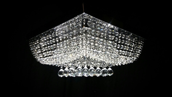 Lustre Em Cristal Alto Brilho Med 45 X 45 X 20 Cm