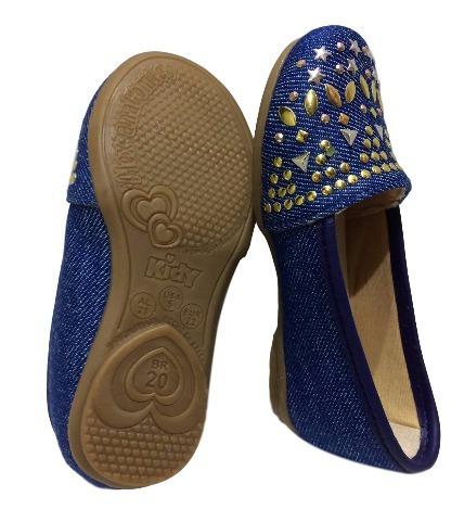 Sapatilha Infantil Azul Baby Menina Jeans Detalhes Kidy 0239