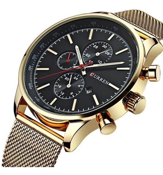 Relógio Masculino Dourado Aço Inox De Pulso Curren Quartzo