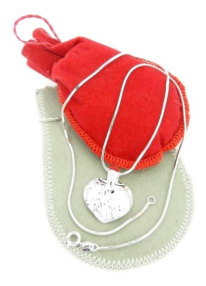 Corrente Feminina 45cm 1mm Coração Folheado Prata Cr267