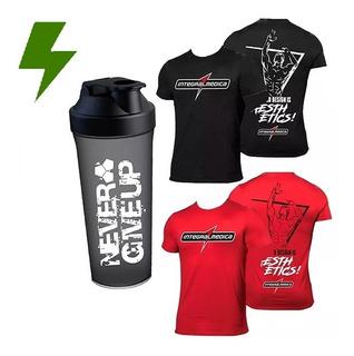 Kit 2x Camiseta Dry Fit Vermelha + Camiseta Preta - Integral