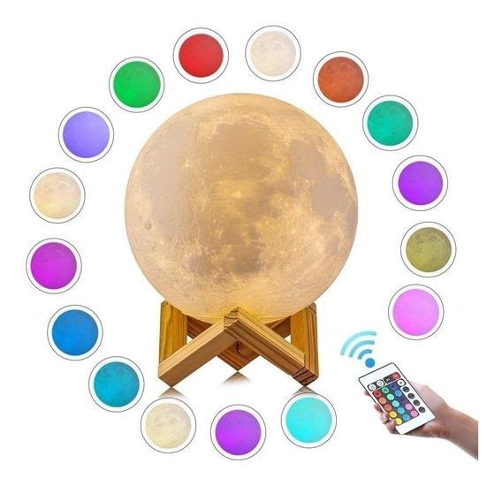 Luminária Lua Cheia 3d Abajur Usb Touch 18 Cm 16 Cor Control
