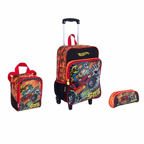 Kit Hot Wheels 17m Plus Mochila+lancheira+estojo Volta Aulas