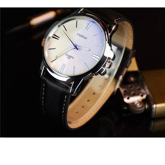 Relógio De Quartzo Yazole 332 Pulseira De Couro
