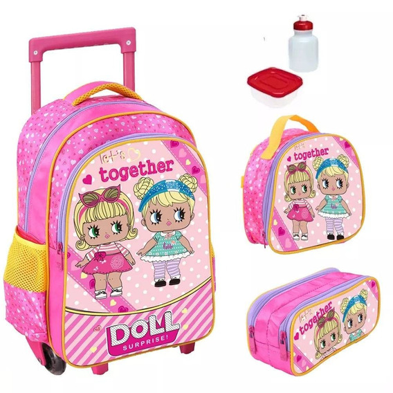 Kit Mochila Infantil Doll Surprise Com Lancheira E Estojo