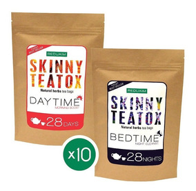 Paquete 10 Reduxim Skinny Teatox Té Detox Día Noche Mayoreo