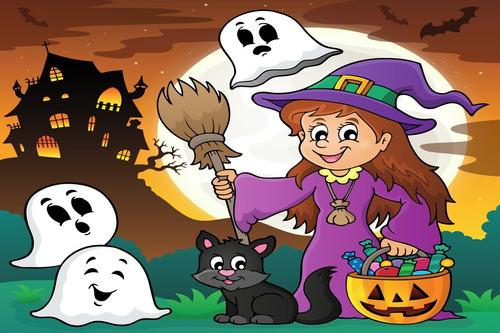 Painel De Festa Halloween Bruxinha E Fantasmas