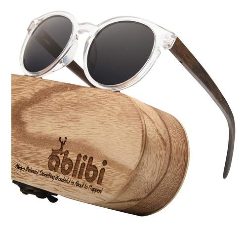 Ablibi Gafas De Sol De Madera Polarizada Retro Para Mujer, E