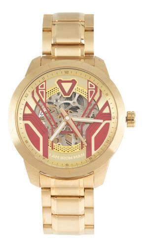 Relógio Automático Masculino Marvel Homem De Ferro Dourado