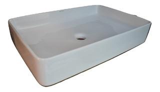 Bacha De Baño Rectangular Blanco Brillo Diseño Minimal