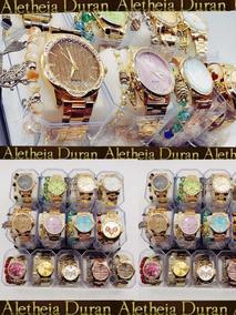 Kit C/10 Relógios Feminino Pulseira Atacado + Caixa E Bateri