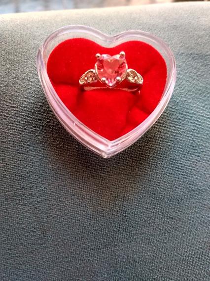 Anel Semi Joia Coração Rosa Turmalina Zircônias Ródio Branco