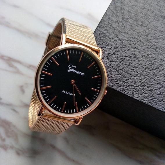 Relógio Geneva Luxury Quartz Caixa Aço Inox Puls. Plástico